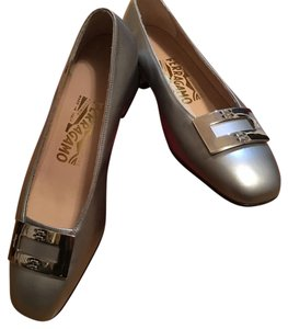 Salvatore Ferragamo Suede Silver with Buckle Flats