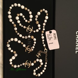 Chanel CHANEL Authentic CC Marble Gold Necklace NWT