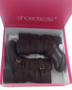 ShoeDazzle Chunky Mid Calf Faux Leather Brown Boots