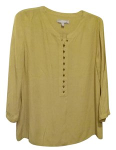 Banana Republic Gold Pull over Button Blouse
