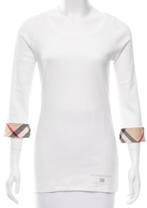 Burberry Nova Check Plaid Monogram Cotton Longsleeve Top White, Beige