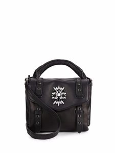 Cynthia Rowley Leather Embellished Jeweled Cross Body Bag