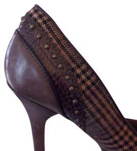 Guess By Marciano Plaid Studded Stilletto Work Casual Brown Plaid Pumps