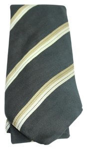 Louis Vuitton Black tie with horizontal taupe stripes TELM7