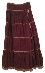 Other Bohemian Lace Trim Ribbon Stratchable Maxi Skirt Maroon