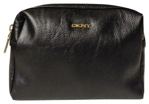 DKNY Black DKNY Faux Leather Cosmetic Bag. Black Leather. Travel bag.