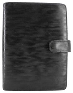 Louis Vuitton Black Epi Agenda MM ELVLM42 B#171202