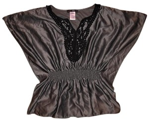 HeartSoul Lacy Embroidery V-neck Top Dark Gray, Black