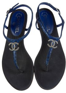 Chanel Interlocking Cc Logo Ankle Strap Silver Hardware Glitter Blue, Black Sandals