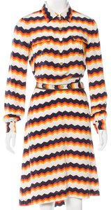 Tory Burch short dress Gold, Orange, Multicolor Silk Longsleeve Belted Reva on Tradesy