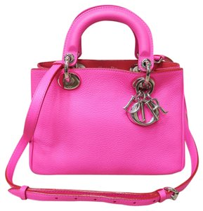 Dior Small Diorissimo Deep Pink Calfskin Satchel in Fuschia