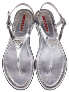 Prada Patent Leather Silver Sandals