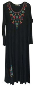 black Maxi Dress by Soft Surroundings Embroidered Long Sleeve Maxi