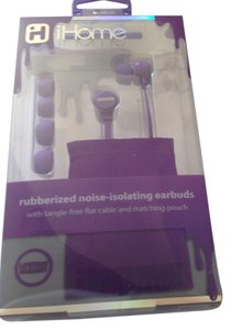 iHome Brand new iHome purple rubberized noise isolating earbuds flat cable & pouch