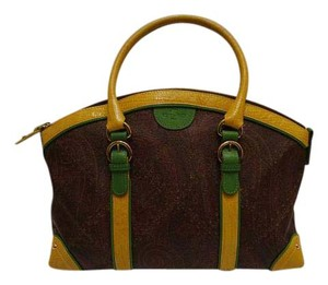 Etro Leather Satchel in Multicolor Paisley Pattern, Yellow and Green details