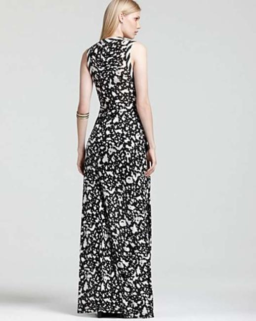 black and white print Maxi Dress by Cut25 Nwot Slit Jersey Ruched Maxi