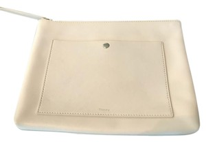 Theory Leather New Without Tag Stone_Off White Clutch