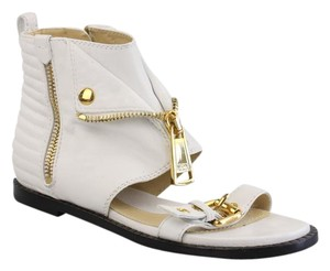 Moschino Gold Hardware Peep Toe Gladiator Ankle Logo White Sandals