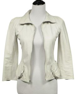 Fendi Leather Italian Soft White Leather Jacket