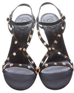Chanel Interlocking Cc Logo Gold Hardware Strappy Embellished Black, Gold Sandals