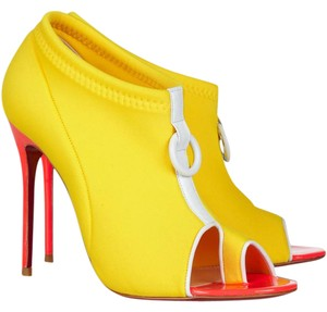 Christian Louboutin Peep Toe Elastic Snorkelling Embellished Patent Leather Yellow, White Boots
