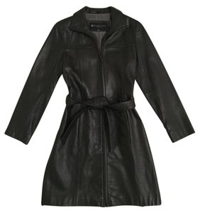 Kenneth Cole Reaction Long Leather Trench Trench Coat
