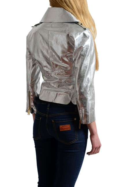 Dsquared2 Silver Leather Jacket Image 1