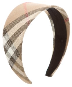 Burberry Beige, black Burberry Nova Check print metallic wide headband