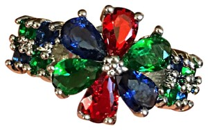Other Silver Green Emerald,Violet Tanzanite,Red Ruby,CZ flower ring