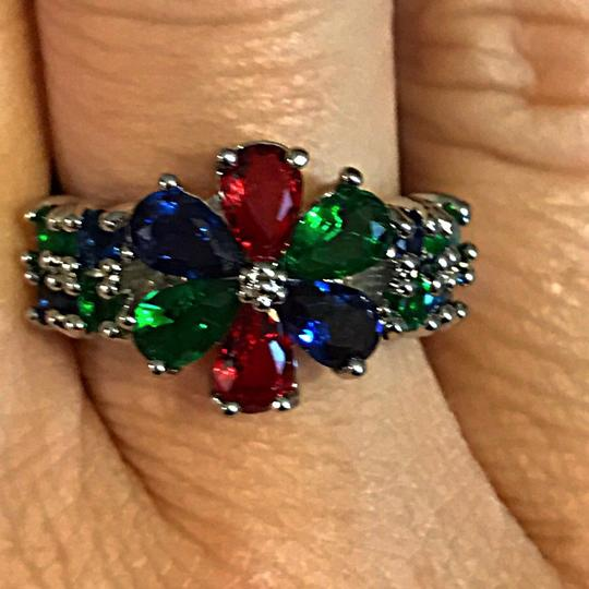 Other Silver Green Emerald,Violet Tanzanite,Red Ruby,CZ flower ring Image 3
