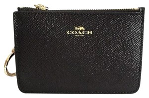 Coach COACH CROSSGRAIN LEATHER KEY CHAIN POUCH, LITTLE CLUTCH WITH GUSSET 57854 LIGHT GOLD/Black