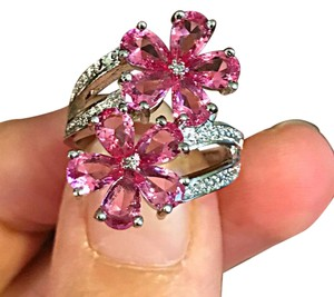 Other Silver pink Tourmaline CZ flower ring (New without tags