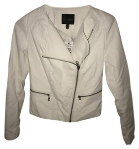 Jessica Simpson Faux Leather Moto Leather White Leather Jacket