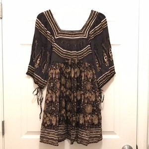 Free People short dress Gray Black Khaki White New/nwt Babydoll 100% Rayon Shot Floral Print on Tradesy