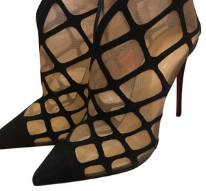 Christian Louboutin black suede / nude mesh Boots