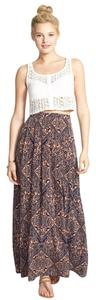 Nordstrom Maxi Skirt Multi - Salmon/Pink and Navy