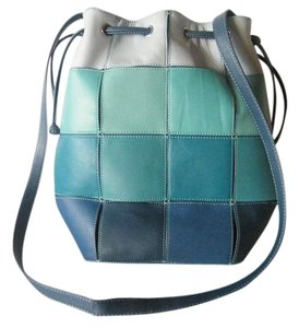 Carlos Falchi Color Block Patchwork Draw String Leather Cross Body Bag
