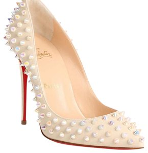 Christian Louboutin white/clear ab spikes Pumps