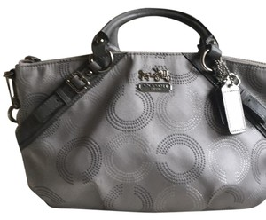 Coach Satchel in silver and grey