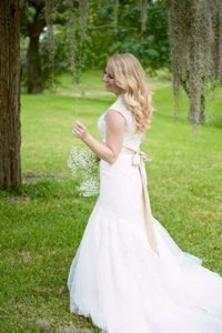 Melissa Sweet Melissa Sweet Cap Sleeve Lace Wedding Dress With Bustle-david's Bridal Wedding Dress