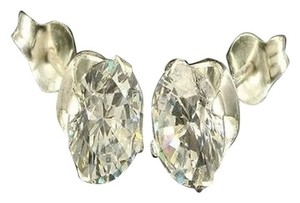 Other Unisex Solitaire 925 Sterling Silver 6mm Cubic Zirconia Earrings