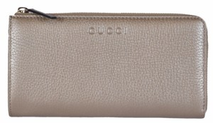 Gucci Gucci Women's 332747 Golden Beige Metallic Leather Zip Around Wallet