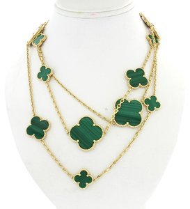 Van Cleef & Arpels Van Cleef & Arpels Alhambra 16 Motifs Malachite 18k Gold Necklace