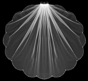 White Scalloped Beaded Fingertip Length Wedding Veil