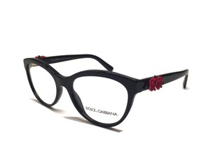 Dolce&Gabbana NEW DG 3224 501 - STUNNING BLACK CAT EYE GLASSES with RED ROSE