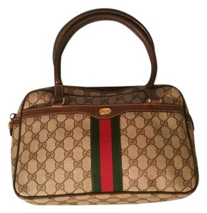 Gucci Gold Hardware Satchel in brown canvas and leather