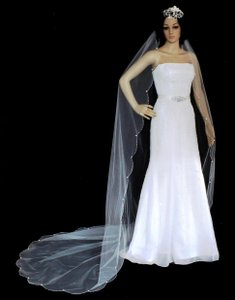 White Scallop Beaded Edge Cathedral Wedding Veil