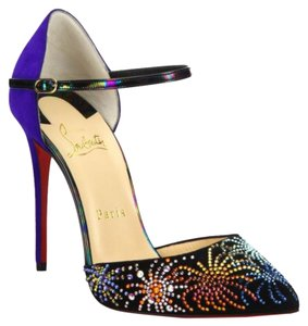 Christian Louboutin black pointed toe with crystal fireworks. purple heel Pumps