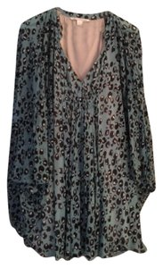 Diane von Furstenberg Dress Silk Animal Print Blue/black/cream Tunic