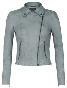 Muubaa Leather Leather Leather Powder Blue Leather Jacket